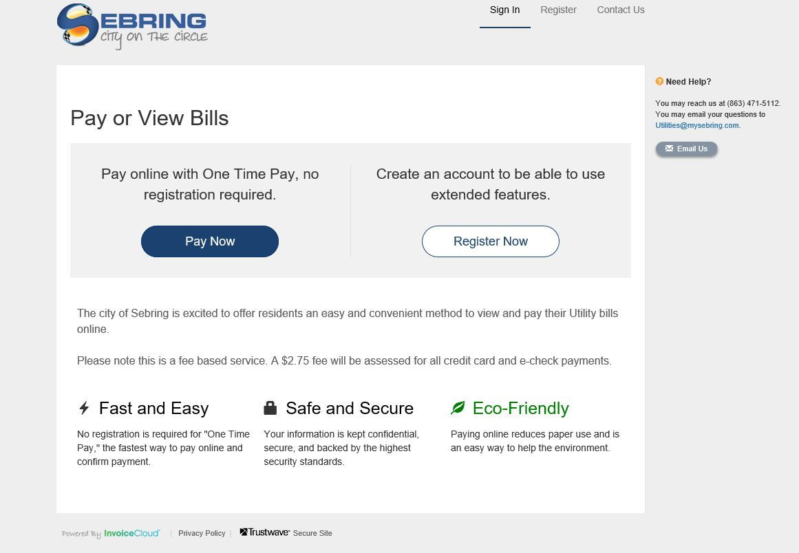 new online payment and invoice system for utility billing sebring